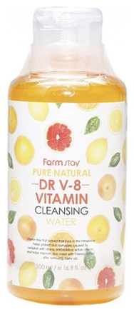 FarmStay Вода Pure Natural Dr V-8 Vitamin Cleansing Water Очищающая с Витаминами, 500 мл очищающая вода урьяж