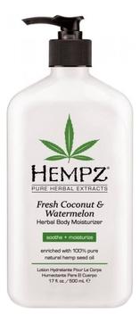 Фото - HEMPZ Молочко Fresh Coconut & Watermelon Herbal Moisturizer для Тела Увлажняющее Кокос и Арбуз, 500 мл hempz молочко original herbal moisturizer для тела увлажняющее оригинальное 500 мл