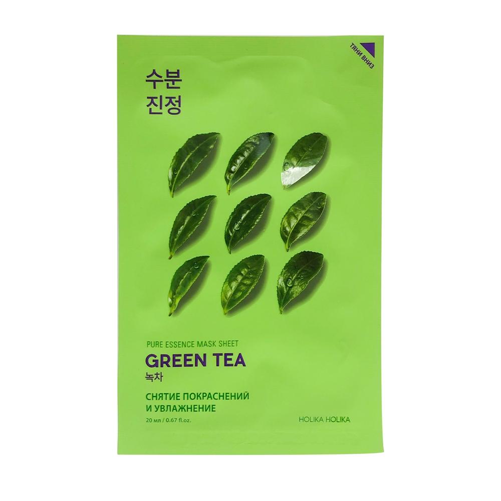 Holika Маска Pure Essence Mask Sheet Green Противовоспалительная Тканевая Tea Пьюр Эссенс Зеленый Чай, 20 мл