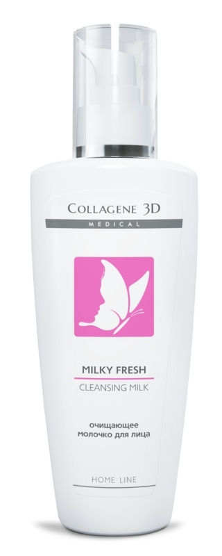 Collagene 3D Молочко для лица очищающее Milky, 250 мл плацентоль молочко очищающее для лица волшебное зеркало 150 мл