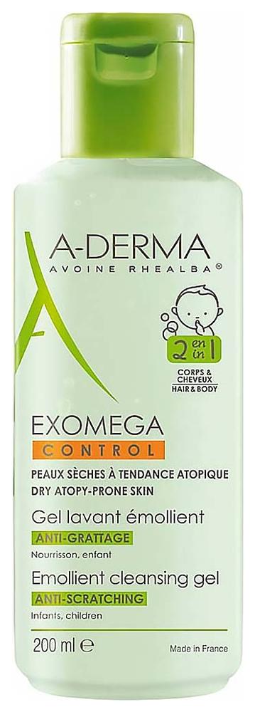 A-Derma Гель Exomega Control Смягчающий Очищающий 2 в 1 Экзомега, 200 мл