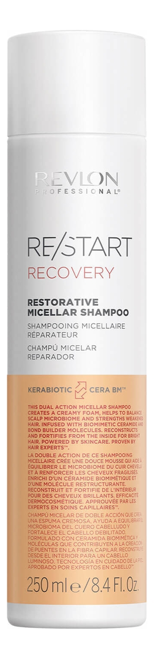 REVLON Шампунь Restart Recovery Restorative Micellar Shampoo Мицеллярный для Поврежденных Волос, 1000 мл