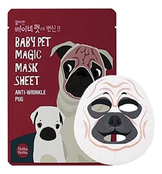 Holika Маска-Мордочка Baby Pet Magic Mask Sheet Anty-wrinkle Pug Тканевая против Морщинок Мопс, 22 мл