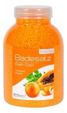 Camillen 60 Соль Badesalz Orange-Papaya для Ножных Ванн Апельсин и Папайя, 1350 мл соль для ножных ванн расслабляющая киви и мелисса badesalz kiwi melisse соль 1350г