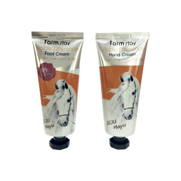 FarmStay Набор: Крем для Рук и Ног с Лошадиным Маслом Visible Difference Hand & Foot Cream Jeju Mayu, 2*100г