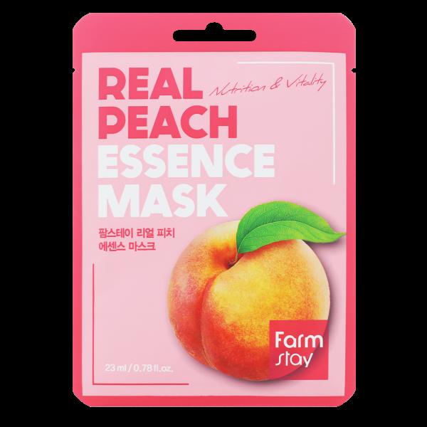 FarmStay Тканевая Маска для Лица с Экстрактом Персика Real Peach Essence Mask, 23 мл гель для душа wins peach увлажняющий с экстрактом листьев персика запаска 400 мл