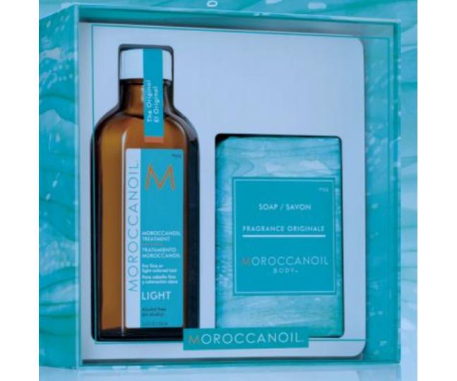 купить Moroccanoil Набор Home @ Away Original (Средство для Осветленных и Тонких Волос, 100 мл+Мыло, 200г) недорого
