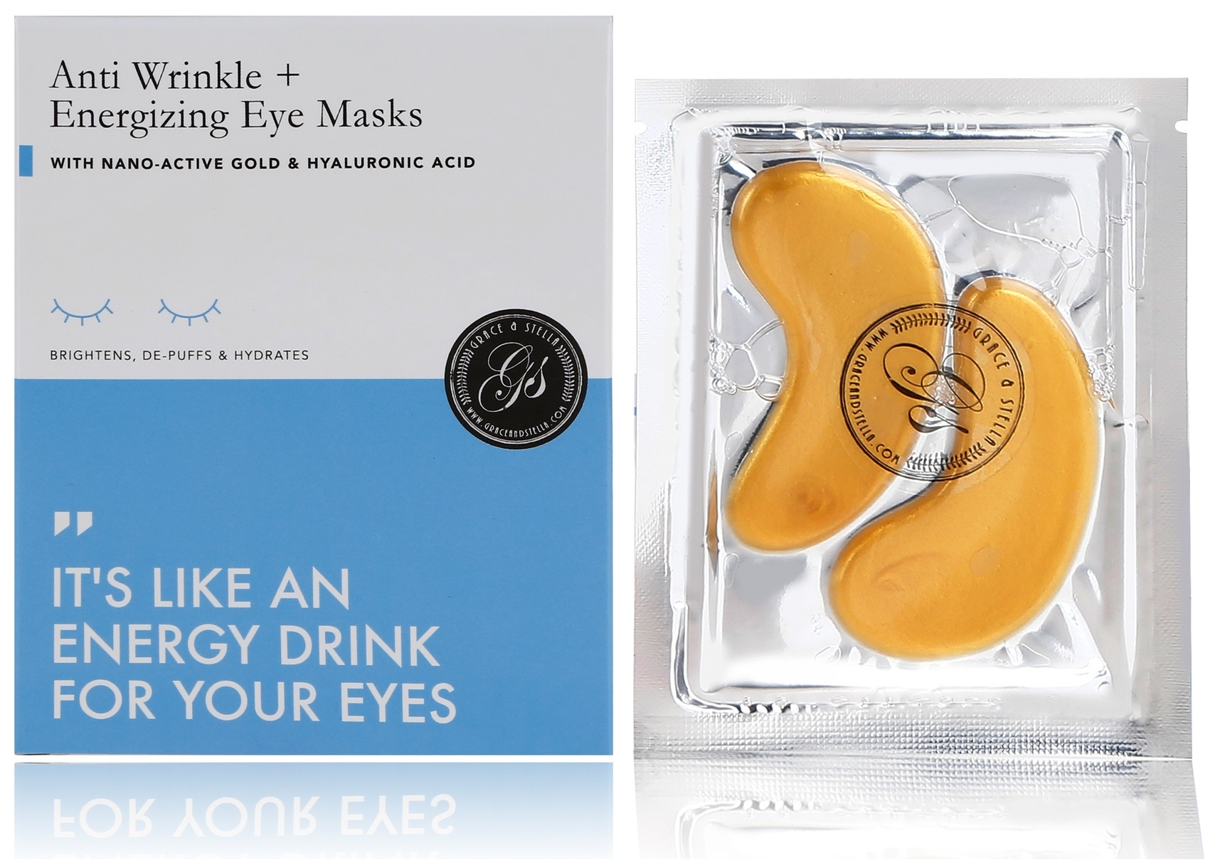 Grace and Stella CO Энергетические Патчи для Области Вокруг Глаз с Коллоидным Золотом и Коллагеном Anti Wrinkle + Energizing Eye Masks, 8 шт