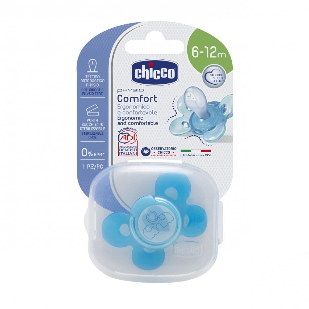 CHICCO Пустышка Physio Comfort, 1 шт.,6-12 мес.+ Силикон, Слоники