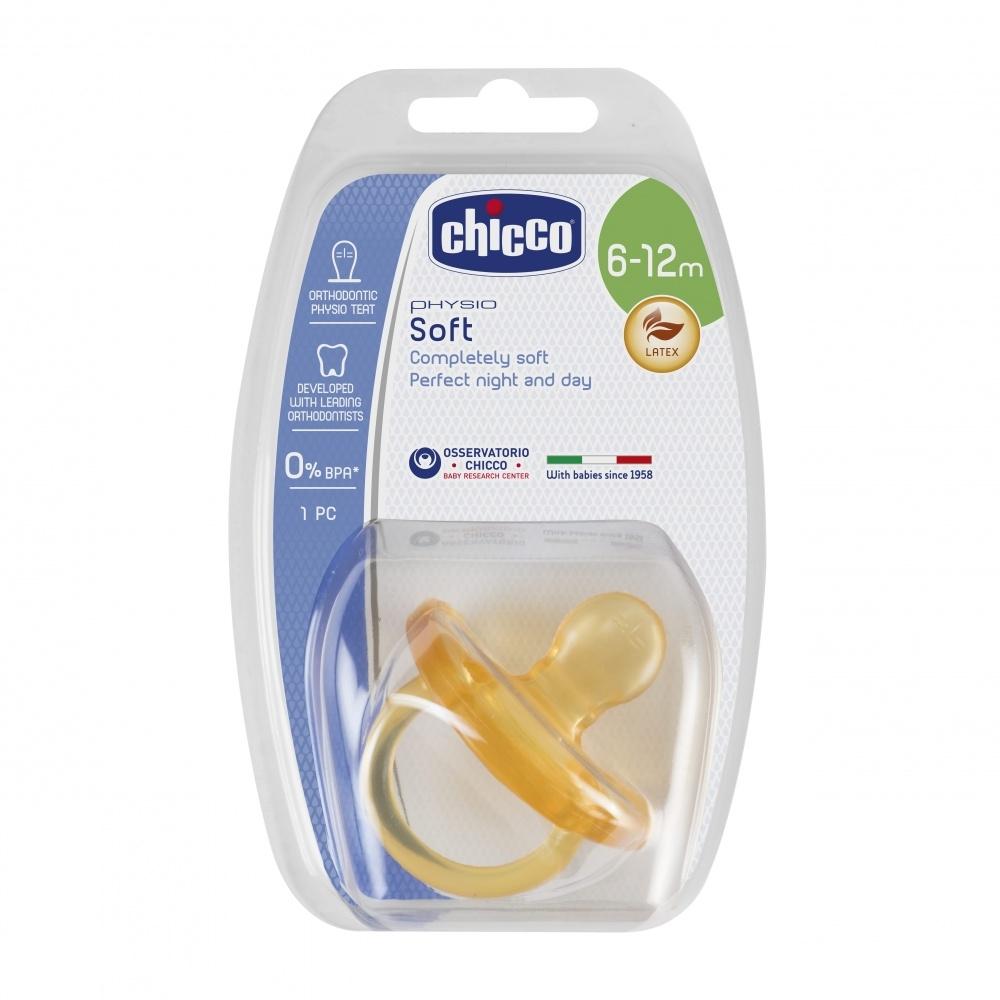 CHICCO Пустышка Physio Soft, 1 шт.,6-12 мес.+ Натуральный Латекс стоимость