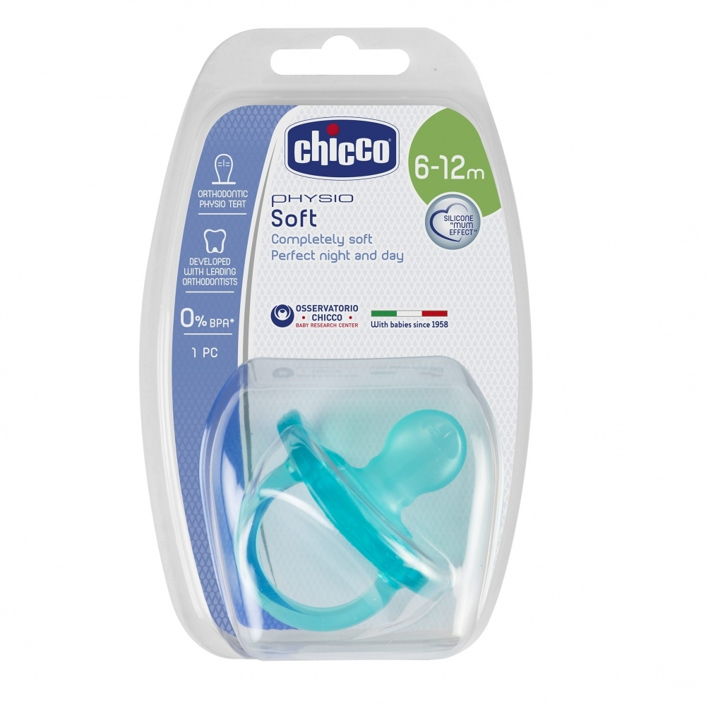 цена на CHICCO Пустышка Physio Soft, 1 шт.,6-12 мес.,Силикон, Голубая