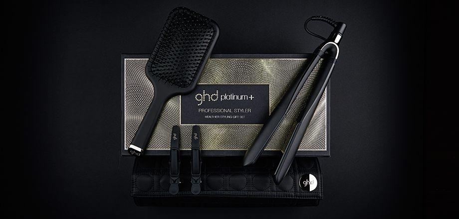 GHD Набор Подарочный: Стайлер для Укладки Волос Ghd Platinum+ +Термостойкая Сумка+Плоская Щетка+Зажимы