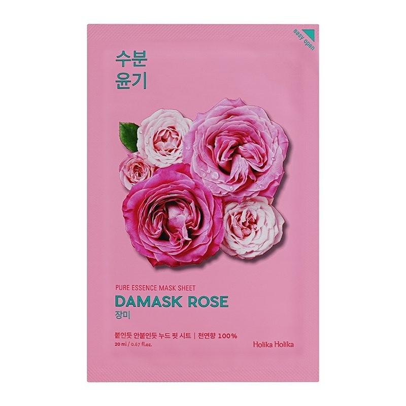 Holika Маска Pure Essence Mask Sheet Damask Rose Увлажняющая Тканевая Пьюр Эссенс Дамасская Роза, 20 мл