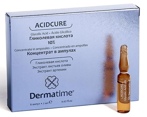 Dermatime Концентрат в Ампулах Гликолевая Кислота 10%, 6*2 мл витамины в 6 и в 12 в ампулах цена