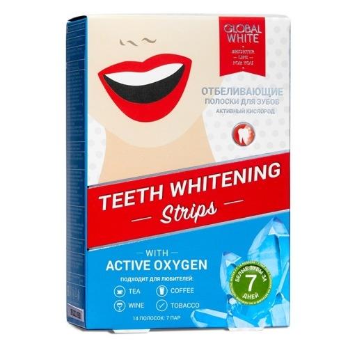 Global White Полоски Teeth Whitening Strips Отбеливающие, 7 шт