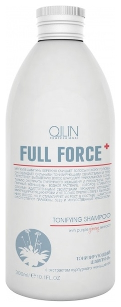 OLLIN PROFESSIONAL FULL FORCE Тонизирующий Шампунь с Экстрактом Пурпурного Женьшеня, 300 мл