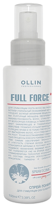 OLLIN PROFESSIONAL FULL FORCE Спрей-Тоник для Стимуляции Роста Волос с Экстрактом Женьшеня, 100 мл