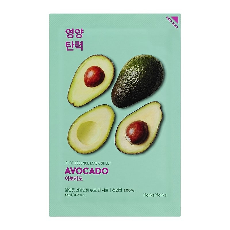 Holika Маска Pure Essence Mask Sheet Avocado Смягчающая Тканевая Пьюр Эссенс Авокадо, 20 мл