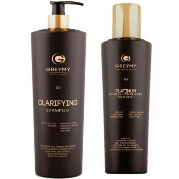 Greymy Professional Кератиновый Крем для Разглаживания/ Очищающий Шампунь Platinum Express Hair Keratin Treatment / Clarifying Shampoo, 500+800 мл недорого