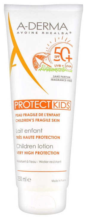 A-Derma Солнцезащитный Лосьон для Детей с Высокой Степенью Защиты SPF 50+ Протект, 250 мл