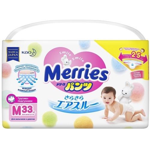 Фото - MERRIES Трусики-Подгузники для Детей Размер M 6-11 кг, 33 шт подгузники трусики для детей размер m 6 11кг подгузники трусики 58шт