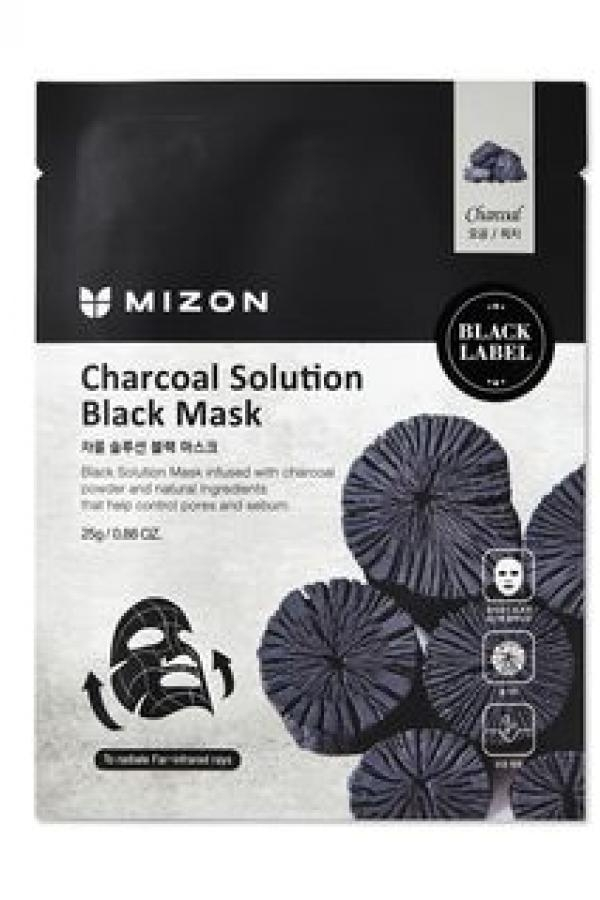 MIZON Маска Charcoal Solution Black Mask для Лица c Древесным Углем, 25г