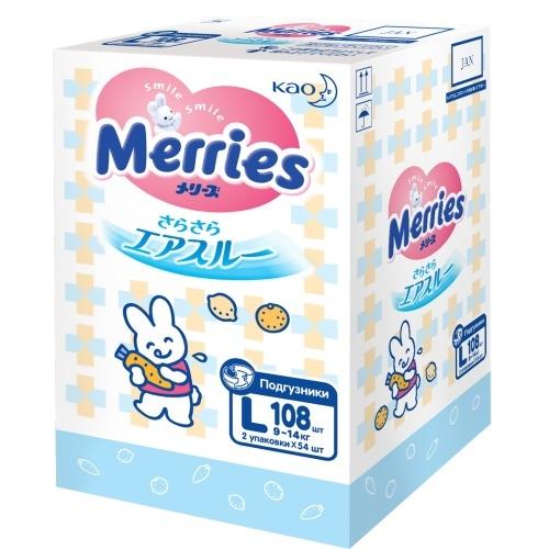 MERRIES Подгузники для Детей Размер L 9-14 кг, 108 шт merries трусики подгузники для детей размер l 9 14кг 44 шт