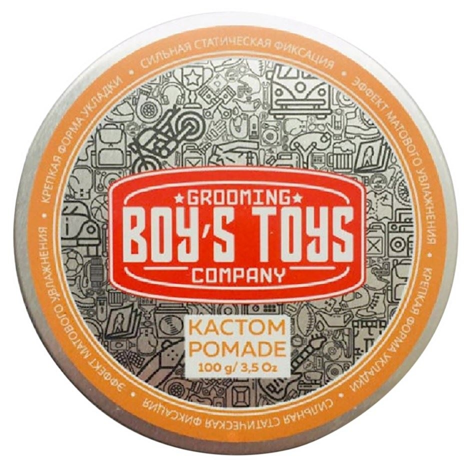 Boy's Toys Помада Pomade для Укладки Волос Сильной Фиксации и Средним Уровнем Блеска Кастом, 100 мл