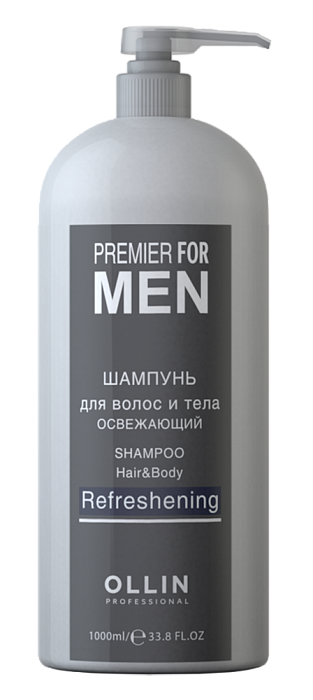 OLLIN PROFESSIONAL PREMIER FOR MEN Шампунь для Волос и Тела освежающий Shampoo Hair&Body Refreshening, 1000 мл ollin professional premier for men шампунь кондиционер восстанавливающий shampoo conditioner restoring 250 мл