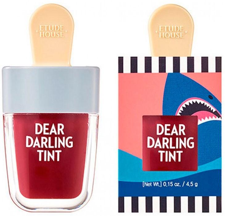 Etude House Тинт Dear Darling Water Gel Tint Shark Red для Губ Увлажняющий Гелевый, 4,5г тинт для губ гелевый saemmul real gel tint 10г 01 red soda