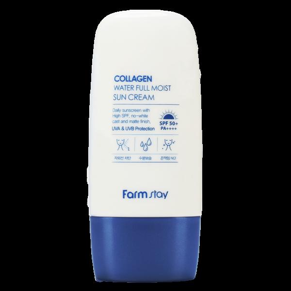 FarmStay Крем Collagen Water Full Moist Sun Cream Увлажняющий Солнцезащитный с Коллагеном SPF50+/PA++++, 45г солнцезащитный крем spf50 farmstay