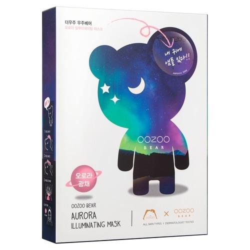 The OOZOO Двухфазная Маска Мишка УЗУ Северное Сияние для Сияния Bear Aurora Illuminating Mask, 5 шт*3 мл+20 мл