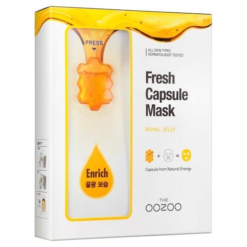 The OOZOO Маска с Капсулой-Активатором с Маточным Молочком Сияние и Питание Fresh Capsule Mask Royal Jelly, 5 шт*3,3 мл+25 мл