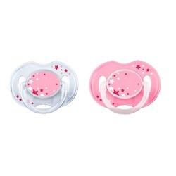 AVENT Philips Пустышка Ночная Силиконовая, 0-6 мес., 2 шт., Розовая avent philips глубокая тарелка 230 мл 6 мес голубая и розовая