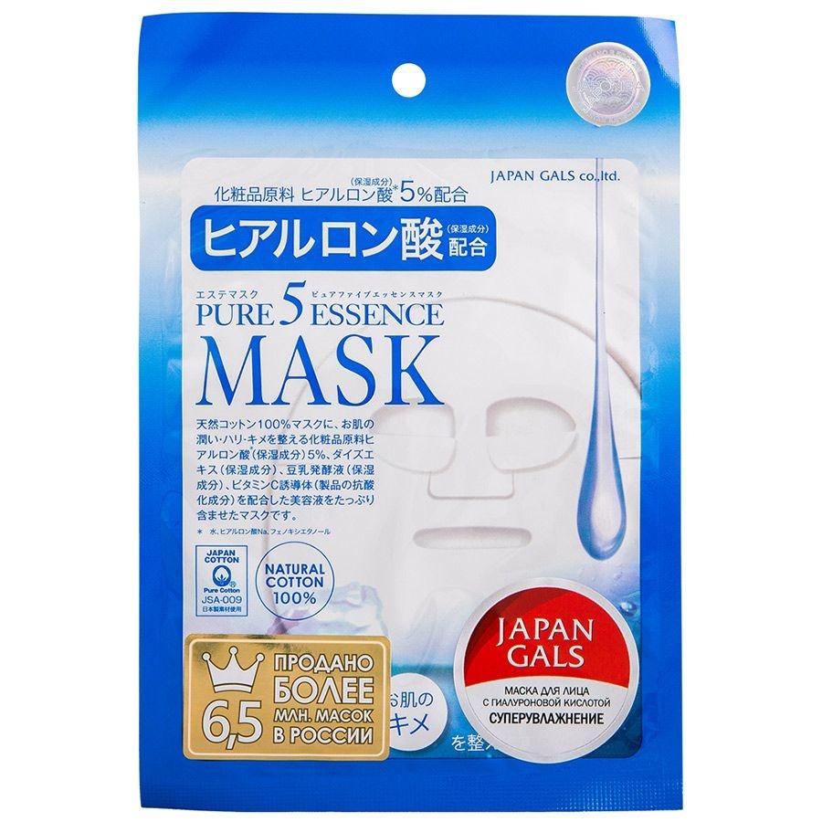 Japan Gals Маска для Лица с Гиалуроновой Кислотой Pure 5 Essence, 1шт
