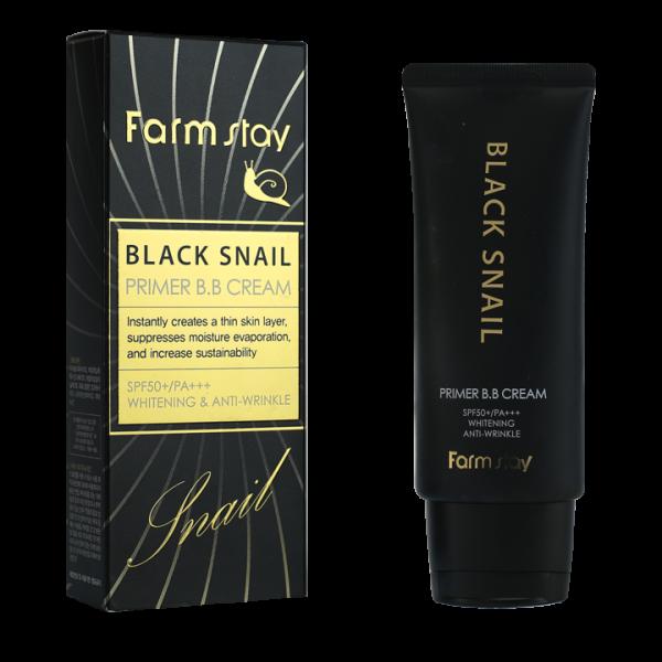 FarmStay ББ Крем Black Snail Primer B.B Cream с Муцином Черной Улитки SPF50+/PA+++, 50г бб крем с муцином улитки deoproce intense snail bb no 21 50мл