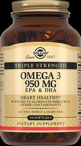 Solgar Омега-3 Omega-3 Тройная 950 мг ЭПК и ДГК Капсулы №50 солгар двойная омега 3 700 мг эпк и дгк 60 капс