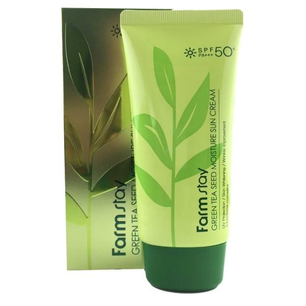 FarmStay Крем Green Tea Seed Moisture Sun Cream Солнцезащитный Увлажняющий с Семенами Зеленого Чая SPF 50/PA+++, 70г солнцезащитный крем яндекс маркет