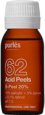 Purles Анти-Акне Салицилово-Пировиноградно-Ретиноевый Пилинг S-Peel 20% pH 1,5, 60 мл желтый пилинг ретиноевый пилинг