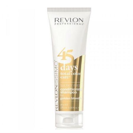REVLON Шампунь-Кондиционер 45 Days Shampoo для Золотистых Блондированных Оттенков, 275 мл revlon шампунь кондиционер для темных оттенков sensual brunettes color care 275 мл