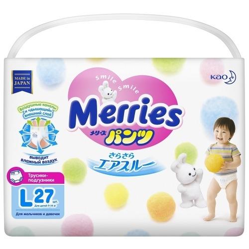 MERRIES Трусики-Подгузники для Детей Размер L 9-14 кг, 27 шт подгузники трусики palmbaby подгузники трусики l 9 14 кг 44 шт 6931882 000274