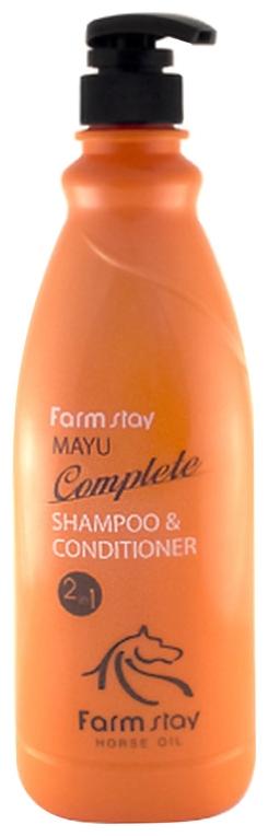 FarmStay Шампунь-Кондиционер с Лошадиным Маслом Mayu Complete Shampoo&Conditioner, 1000 мл farmstay шампунь кондиционер с аргановым маслом argan oil complete volume up shampoo