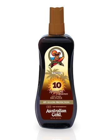Australian Gold Защитный Спрей-Гель для Загара на Солнце с Натуральными Бронзаторами SPF 10 Spray Gel Bronzer, 237 мл