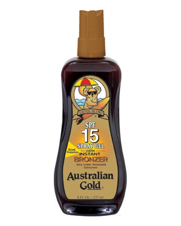 Аustralian Gold Защитный Спрей-Гель для Загара на Солнце с Натуральными Бронзаторами SPF 15 Spray Gel Bronzer, 237 мл