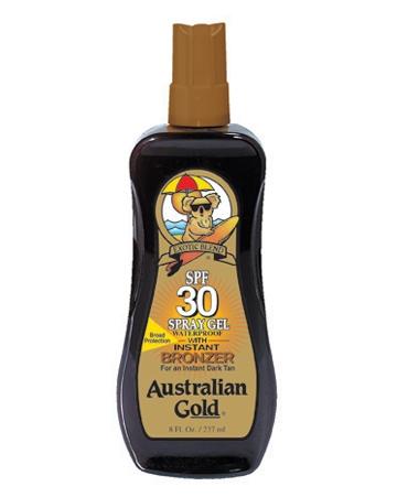 Аustralian Gold Защитный Спрей-Гель для Загара на Солнце с Натуральными Бронзаторами SPF 30 Spray Gel Bronzer, 237 мл