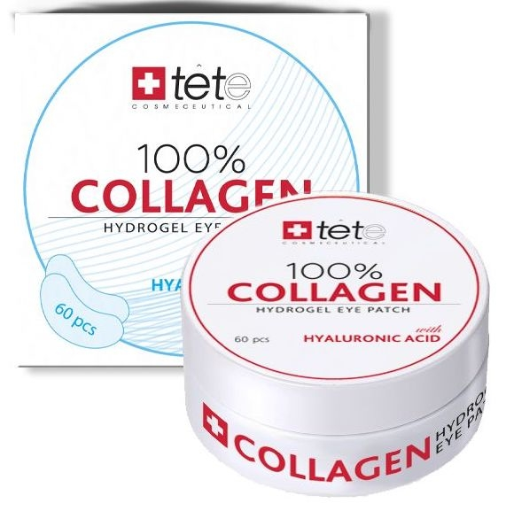 TETe Cosmeceutical Гидроколлагеновые Патчи для Глаз с Гиалуроновой Кислотой 100% Collagen Hydrogel  Eye Patch, 60 шт
