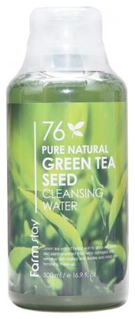 FarmStay Очищающая Вода с Экстрактом Зеленого Чая 76 Pure Natural Green Tea Seed Cleansing Water, 500 мл очищающая вода урьяж