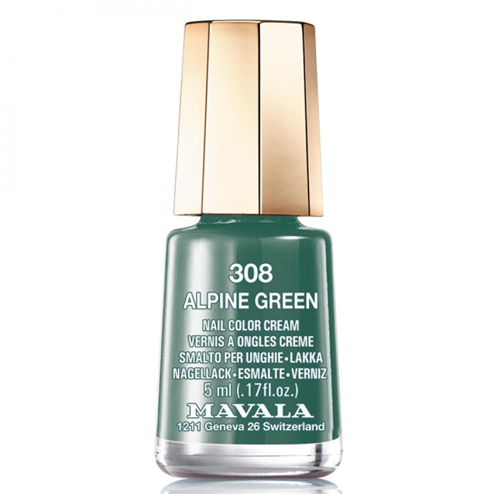 Mavala Лак Alpine Green 9091308 для Ногтей Альпийский Лес, 5 мл лак для ногтей mavala creamy mini color s 308 цвет 308 alpine green variant hex name 3f6c60