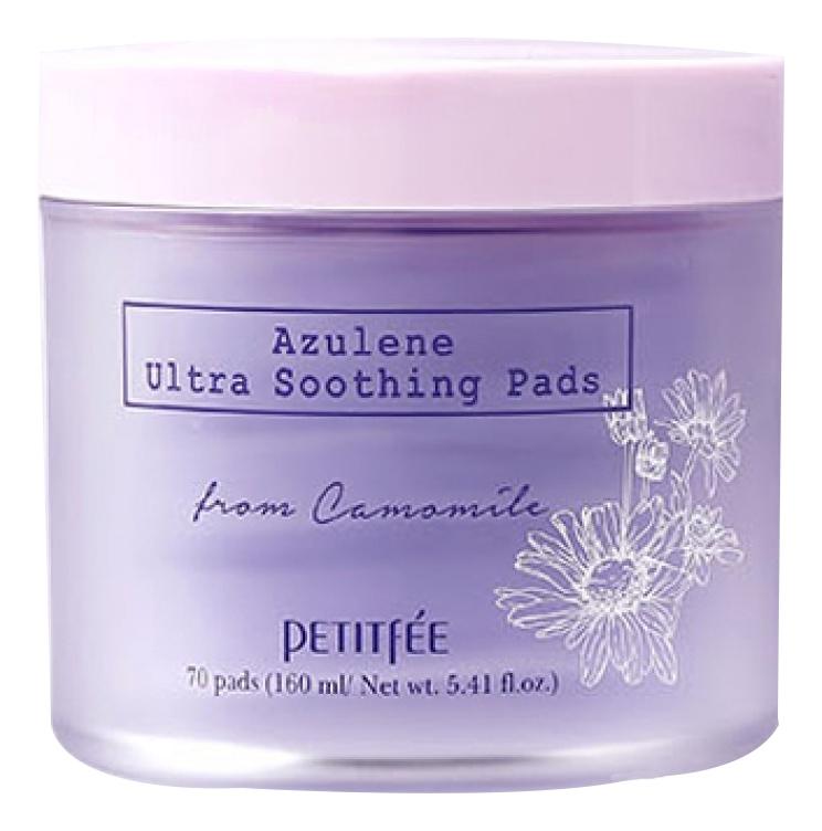 Petitfee Успокаивающие Очищающие Подушечки для Лица с Азуленом Azulene Ultra Soothing Pads, 70 шт
