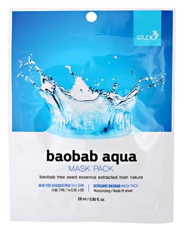 Bergamo Тканевая Маска для Лица с Экстрактом Баобаба Baobab Aqua Mask Pack, 28 мл guerlain super aqua mask увлажняющая маска super aqua mask увлажняющая маска